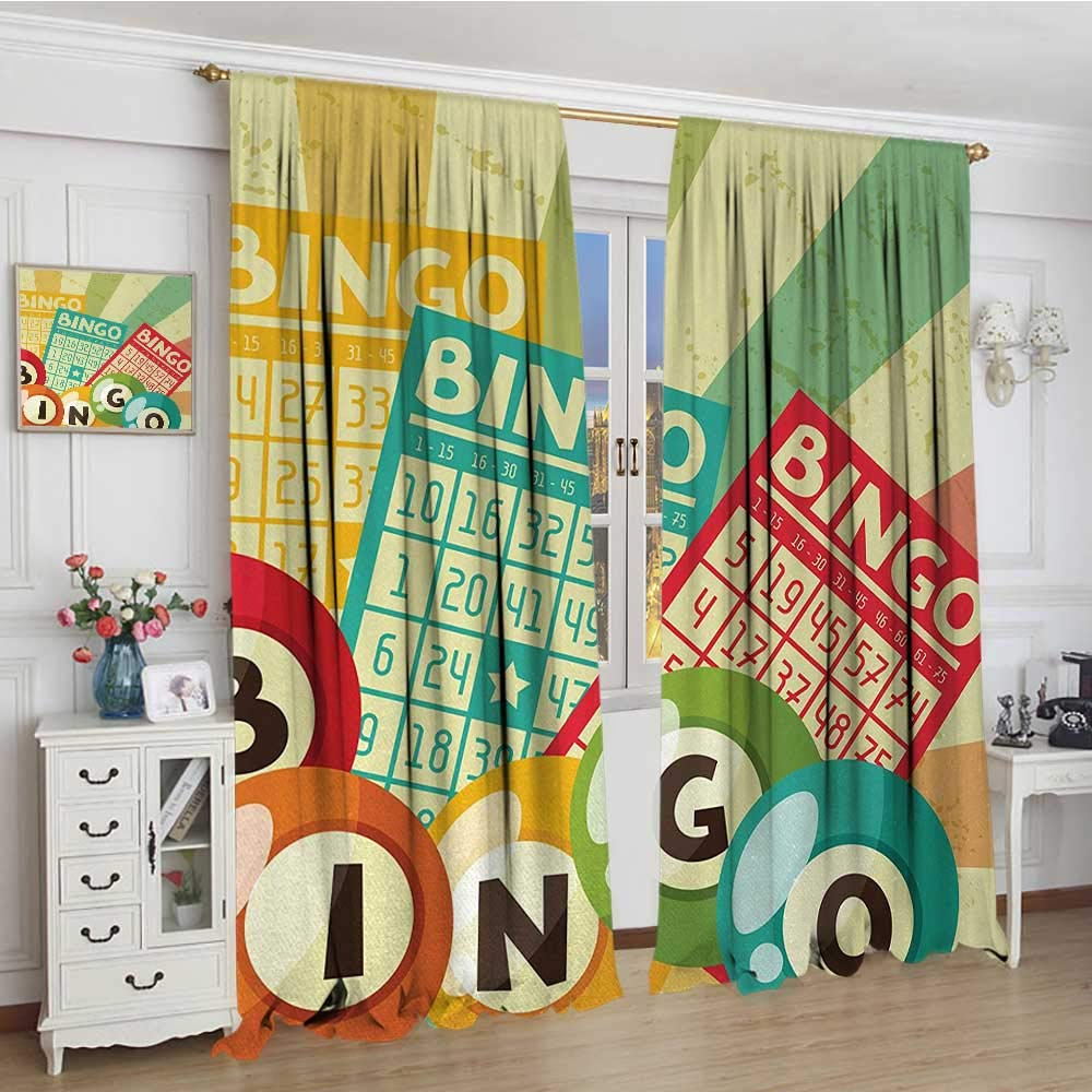 smallbeefly Vintage Waterproof Curtain Bingo Game with Ball and Cards Pop Art Stylized Lottery Hobby Celebration Theme Lengthened Blackout Draperies For Bedroom 72''x108'' Multicolor by smallbeefly