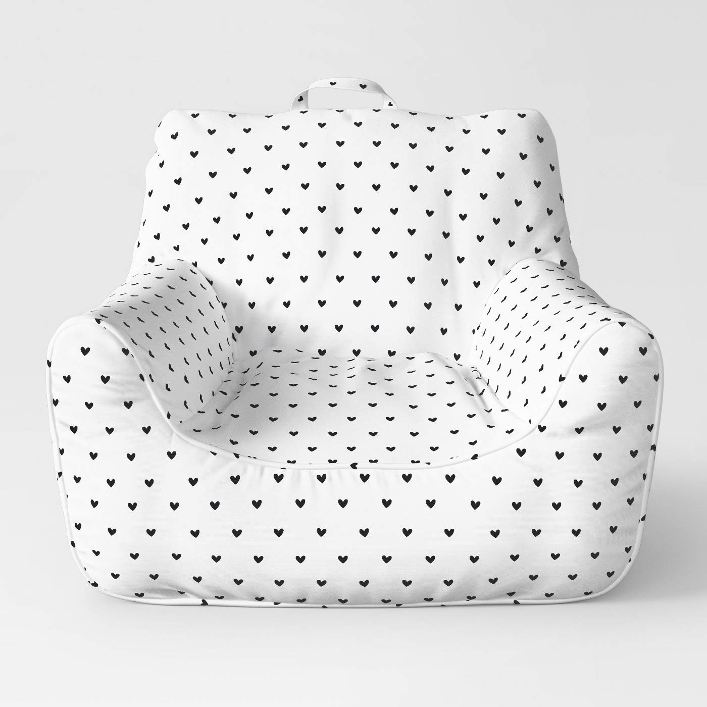 Easy Chair Medium with Removable Cover White/Black Hearts