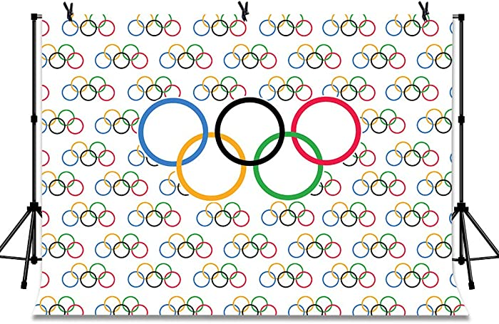 LYLYCTY 7x5ft Olympic Sport Backdrop Olympic Rings International Banner Countries for Classroom Garden Grand Opening Sports Clubs Party Events Decorations Photography Background LYZY0828
