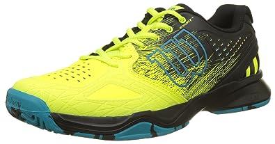 Wilson Homme Chaussures de Tennis, Convient aux Joueurs de Tout Niveau, pour Tout Type de Terrain, KAOS Stroke, Tissu Synthétique, Blanc/Noir (White/Black/Black), Taille: 46