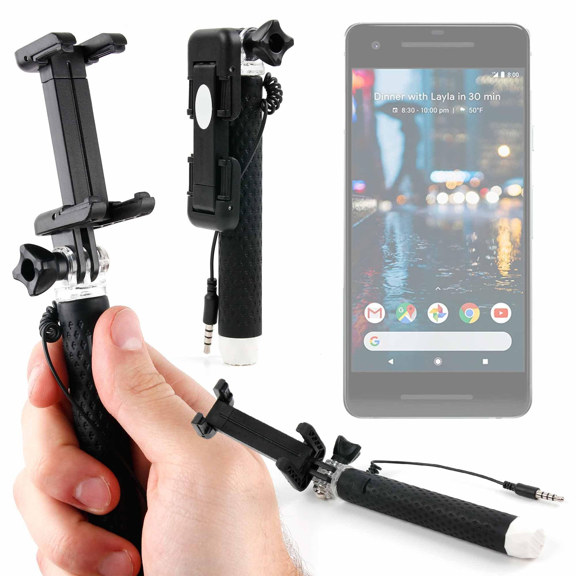 DURAGADGET Mini Pocket Wired Selfie Stick - Compatible with The Google Pixel   Pixel 2   Pixel XL   Pixel 2 XL