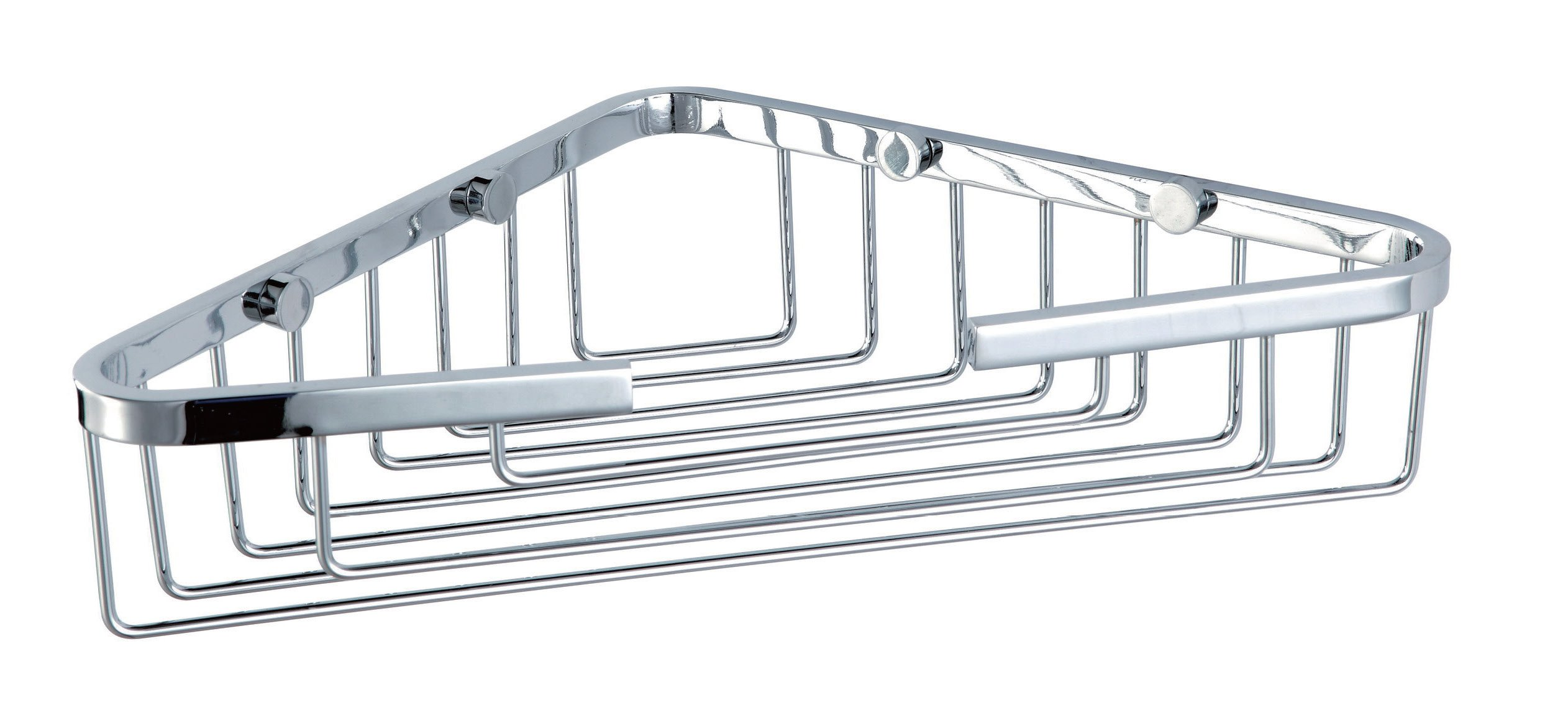Hane HANEBATH Stainless Steel Single Tier Corner Shower Caddy Wall Mount Storage, Polished Chrome