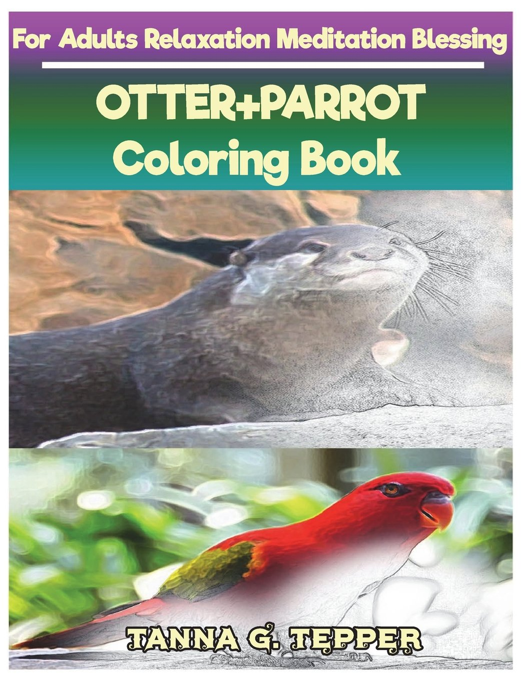 Download OTTER+PARROT Coloring book for Adults Relaxation Meditation Blessing: Sketch coloring book Grayscale Pictures pdf epub