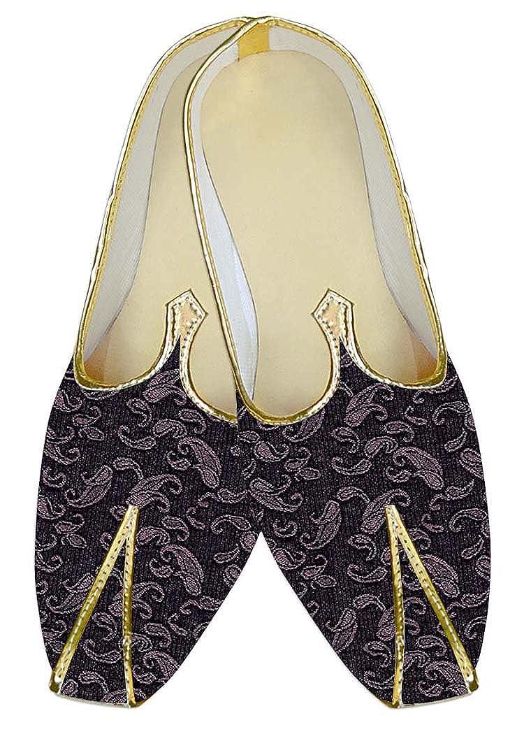 INMONARCH Poliéster Vino Púrpura Hombres Boda Zapatos Paisley MJ10557 47 EU