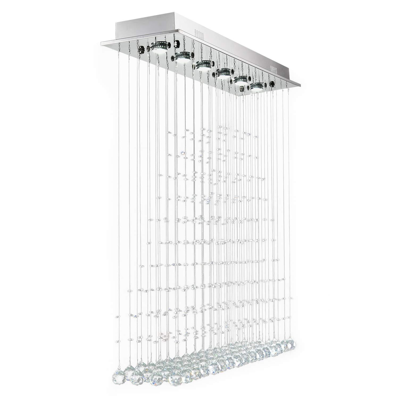 Moooni modern rectangular rain drop k9 crystal chandelier led flush