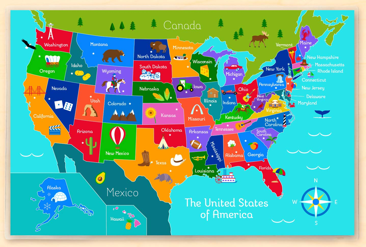 united states map placemat Usa America Map Placemat Amazon In Baby