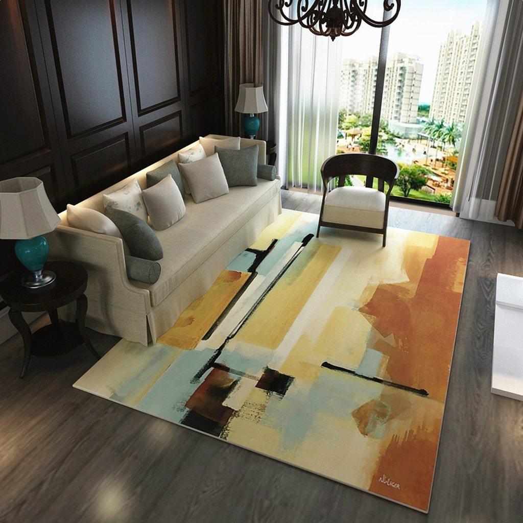 長方形のカーペット、aquarelleパターン、ベッドルームのリビングルームのコーヒーテーブルソファ、家庭用長方形のカーペット(120センチ* 160センチメートル)   B07B4QV3HJ