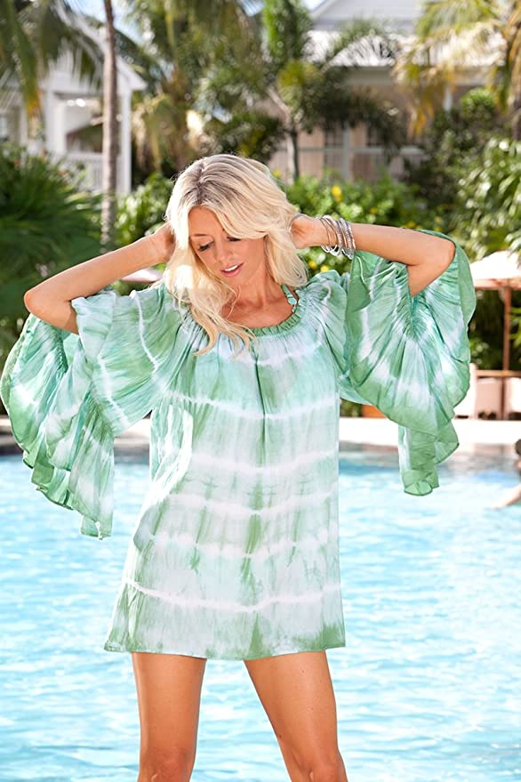 639ea8aafafdf Blue Sky Swimwear Womens  Sexy Off Shoulder Shirt Dress in Emerald Ombre at  Amazon Women s Clothing store