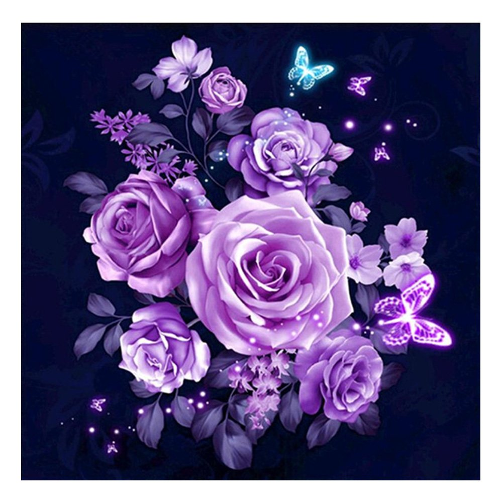 Kits De Broderie Au Point De Croix Fleurs Rose Violet La Cabina 5d Peinture En Diamant Diy Point De Croix En Resine Decoration De Maison Salon Chambre Cuisine Maison Hotelaomori Co Jp