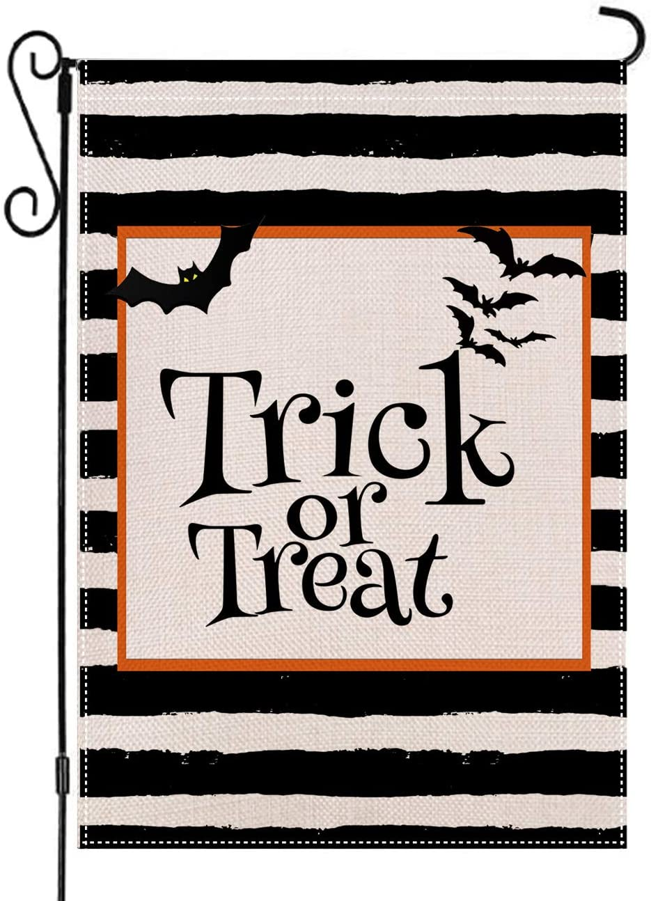 AUOIKK Trick or Treat Garden Flag Vertical Double Sized, Halloween Farmhouse Flag Burlap Vintage Watercolor Yard Outdoor Garden Decoration 12.5 x 18 Inch
