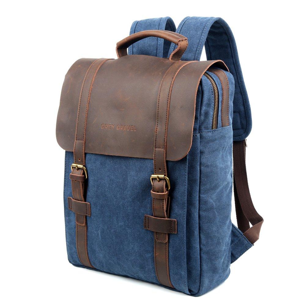 Grey Gravel Canvas Backpacks Vintage Rucksack Casual Leather Travel Bag Daypacks 15'' Laptop for College School Bookbag (Dark Blue)