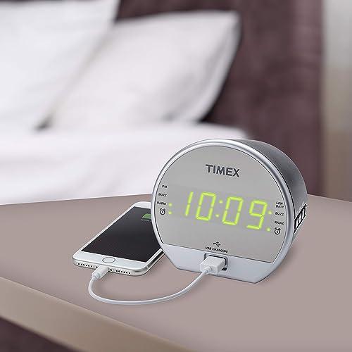 Timex T2352 Dual Digital Alarm Clock, FM Radio, Built in Speaker, USB Charger, Green LED Display with Dimmer, Battery Backup for Bedrooms, Bedside, Desk, Shelf, Snooze Adjustable Sleep Timer