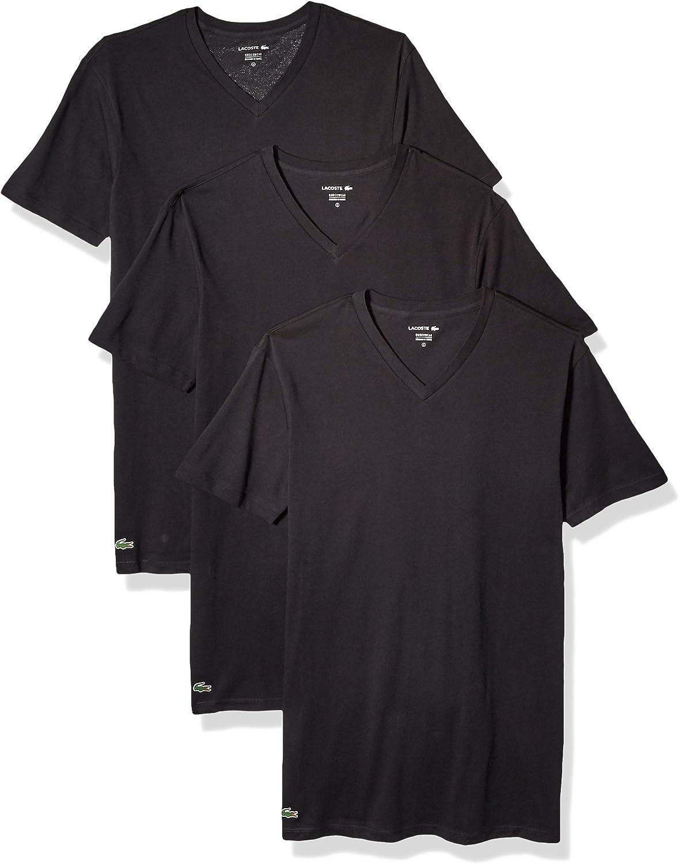 Lacoste Men's 100% Cotton V-Neck T-Shirt, 3 Pack at  Men's Clothing store