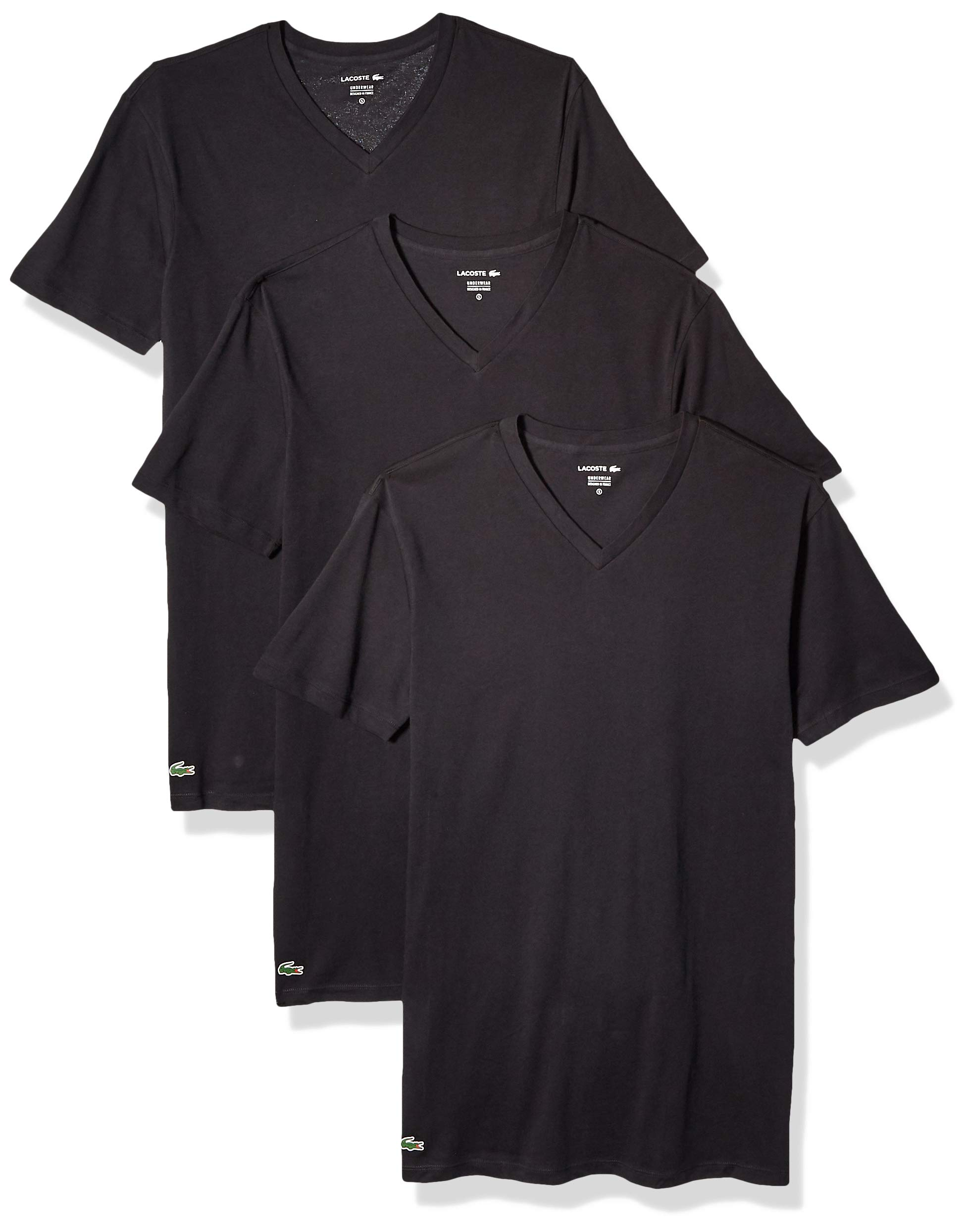 Lacoste Men's Classic Fit Cotton V Neck Tee, Multipack, New Black, L by Lacoste