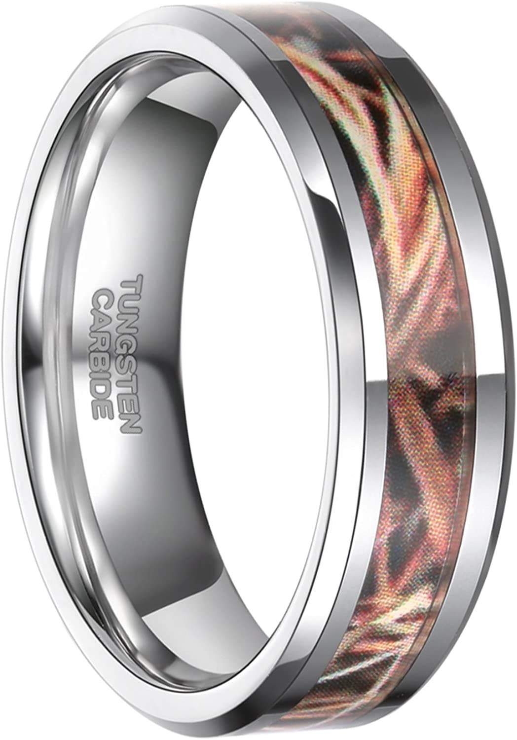 Frank S.Burton 6mm 8mm Camo Tungsten Rings Deer Antlers Hunting Camouflage Engagement Wedding Band Size 4-14