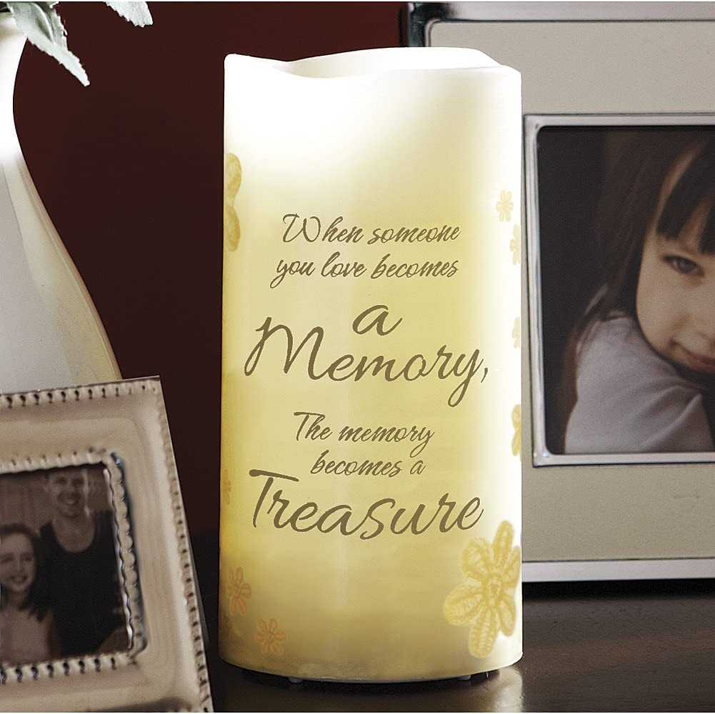 "6"" Flameless Vanilla Scented Memory Pillar Candle, Flickering Led Light"