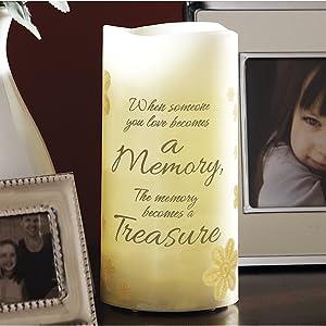 "6"" Flameless Vanilla Scented Memory Pillar Candle, Flickering Led Light"