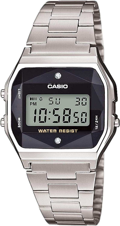 Casio - Reloj multifunción con Correa de Acero Plateado Casio Vintage (a158wead-1ef)