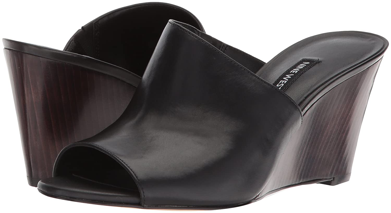Nine West Women's Janissah Slide Sandal B079P8VTRJ 8.5 B(M) US|Black Leather