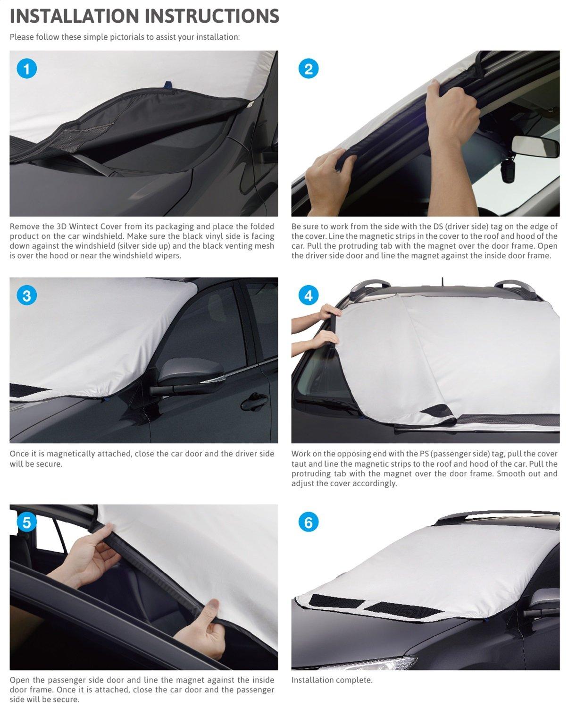 55 x 53 x 61 Black//Silver 3D MAXpider Semi-Custom Fit Wintect All Season Windshield Cover