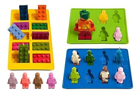 Vivin Eiswürfelbehälter und Pralinenformen Silikon 3-Teiliges Set, Süßigkeiten Formen,Form Süßigkeiten,Grundbausteine, Bauste