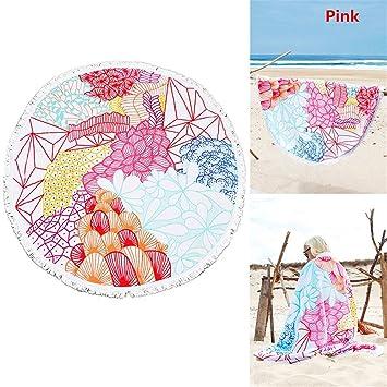 Joybuy múltiples patrones impreso toalla de playa redonda Cover Up tamaño grande borla Circular toalla de baño sol bloque chal Yoga Mat, Rosado: Amazon.es: ...
