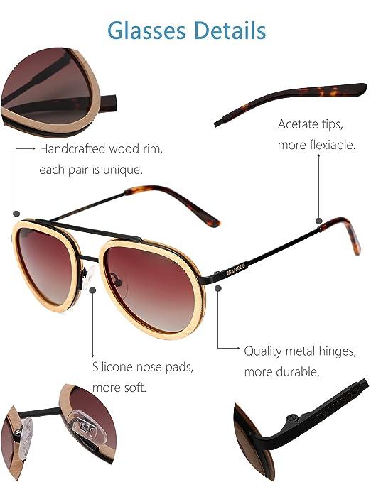 e978a54593c Amazon.com  Aviator Sunglasses Wood Polarized for Men and Women ...