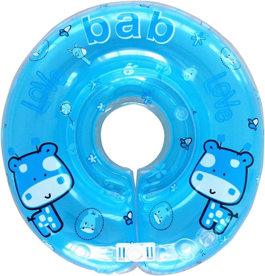 Ajustable inflable bebé recién nacido niño nadar agua cuello flotador niño infantil anillo de natación piscina ayudas trainer juguetes para niños bebés (Blue)