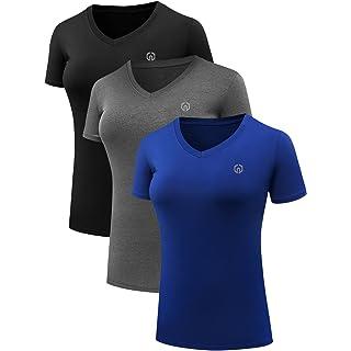 Neleus Women's 3 Pack Compression Workout Athletic Shirt