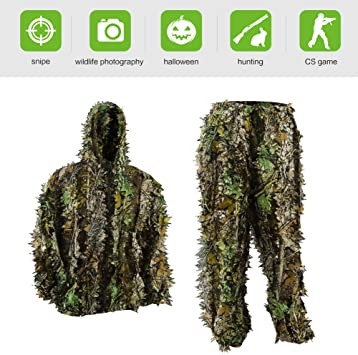 PELLOR Ghillie Suits, 3D Leafy Ghille Suit for Youth Boys, Hooded Hunting Airsoft Camouflage Gillies Suits