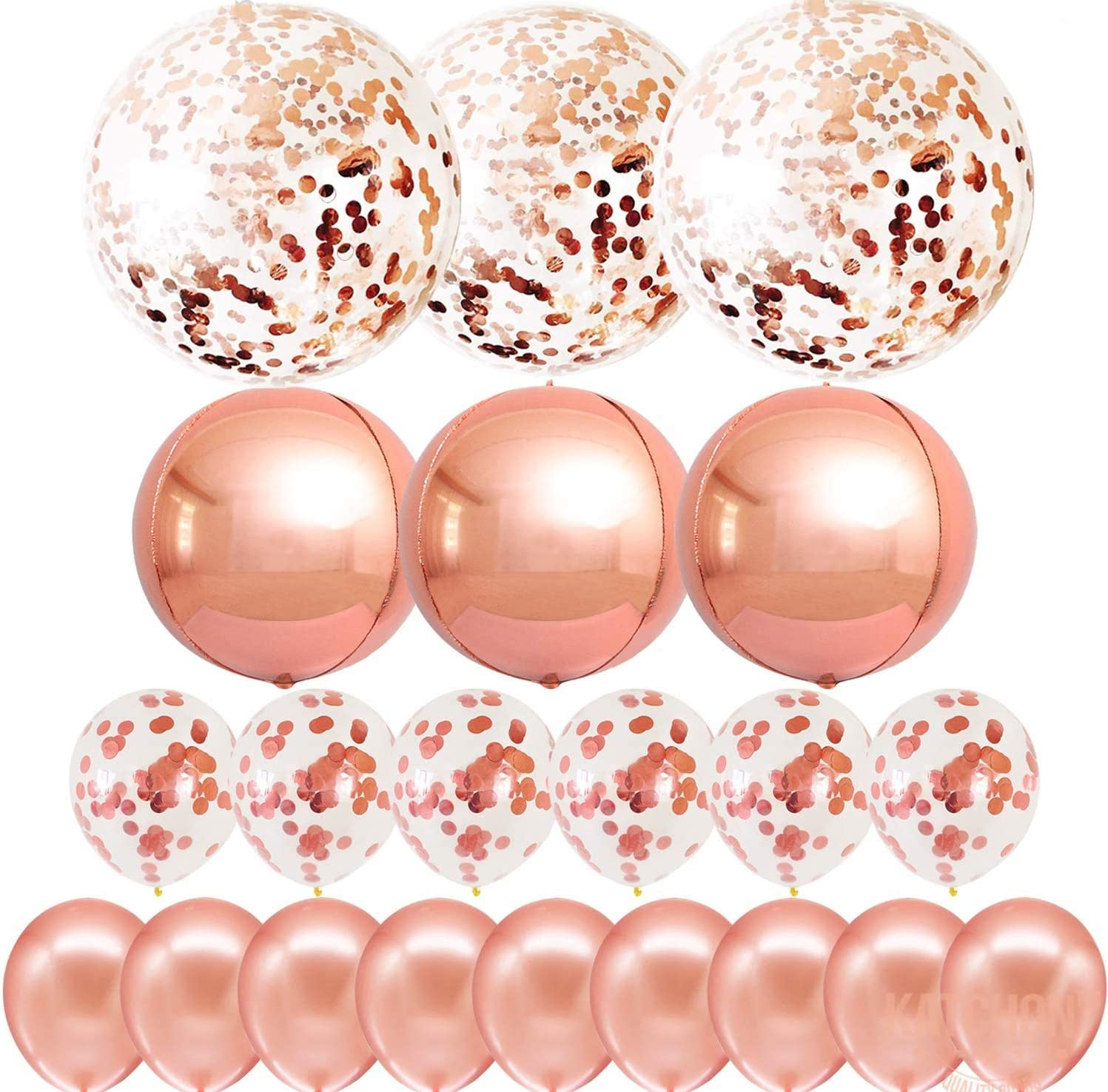 Big Confetti and Orbz Rose Gold Balloons - Jumbo 36 Inch and 12 Inch, Rose Gold Confetii Balloons | 22 Inchs Rose Gold Orbz Balloons | Giant Rose Gold Balloons Set For Arch Kit and Balloon Garland