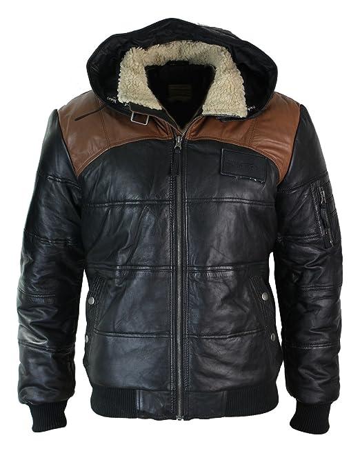 Chaqueta Bomber de hombre de cuero real con capucha con pelo negro marron acolchada: Amazon.es: Ropa y accesorios