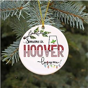 "Christmas Ornaments 2019 Family Someone In Hoover Alabama Loves Me AL Xmas Gifts Cute Owl Family Keepsake Present Xmas Present Mom Dad Wife Husband Ceramic 3"" Flat Circle"
