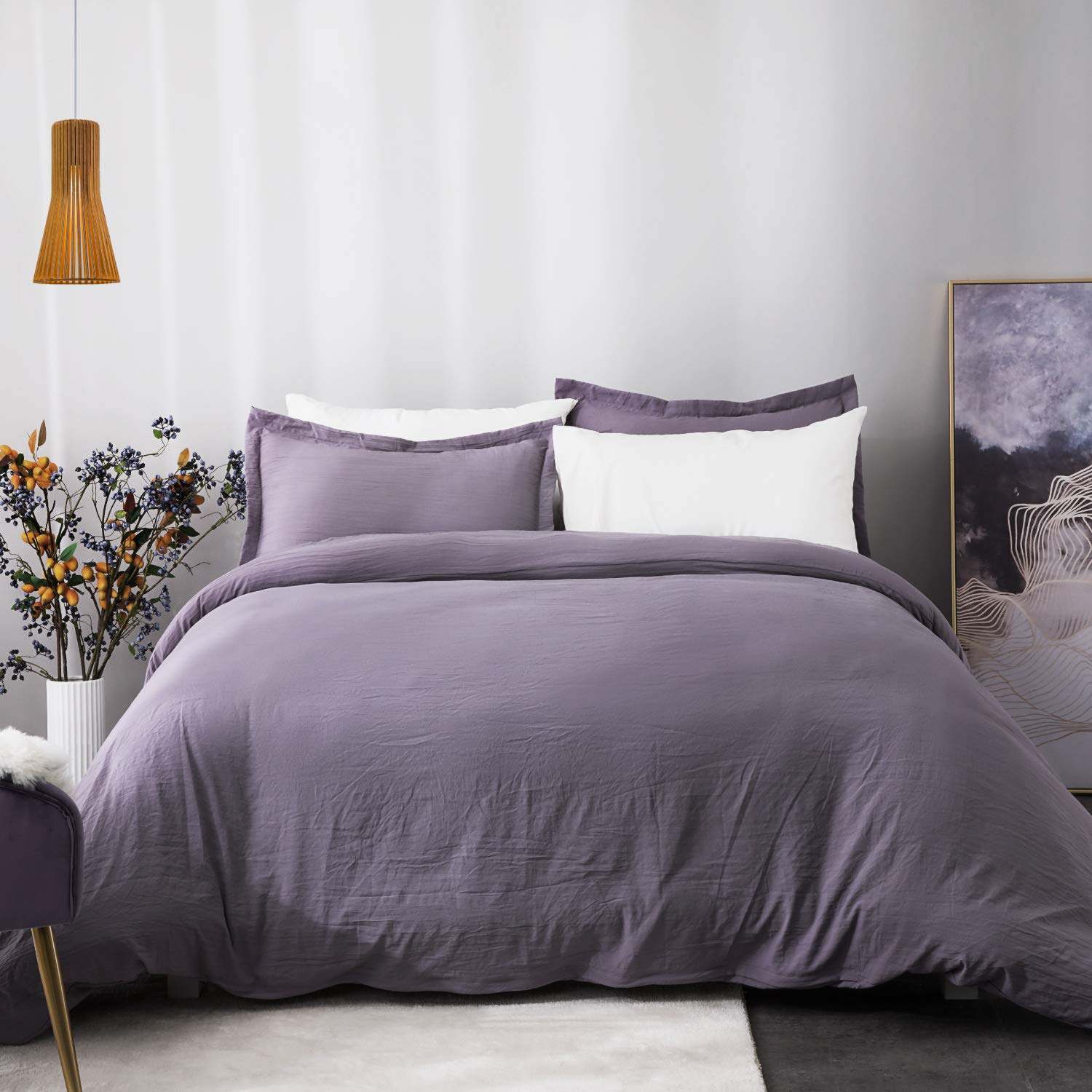 Bedsure Grayish Purple Duvet Cover Set with Zipper Closure, Washed Process Microfiber - Ultra Soft Full/Queen Size(90x90 inches)-3 Pieces (1 Duvet Cover + 2 Pillow Shams) Hypoallergenic