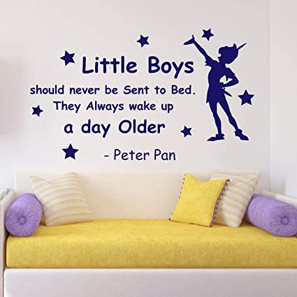 Amazon.com: N.SunForest Peter Pan Quote Wall Decal Little ...