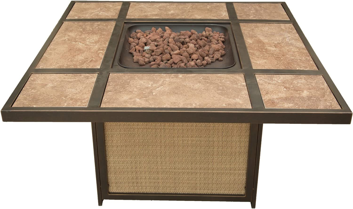 B06W2HBJQ8 Hanover TRADTILE1PCFP Traditions Tile-Top Fire Pit Outdoor Furniture, Brown 71mkj3NbvAL.SL1500_