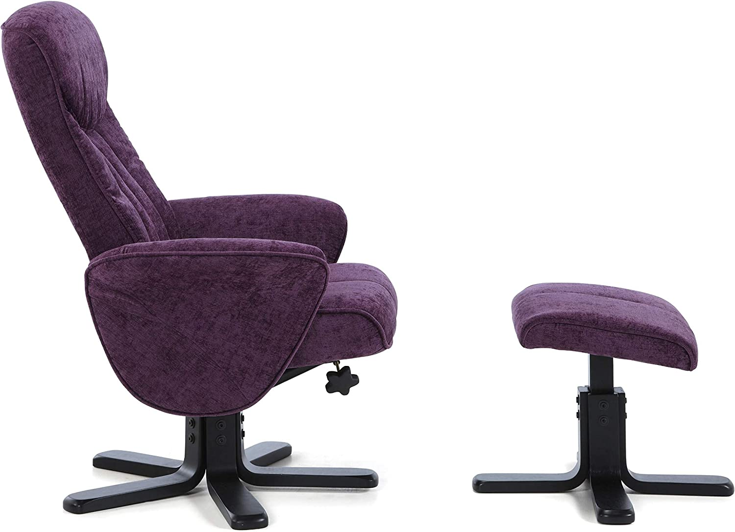 Amethyst Save On Goods UK Fabric upholstered Swivel,Adjustable Recliner Chair,purple,cream,grey reclining office study seat with footstool