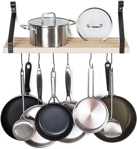 Kitchen Hanging Pot Pan Storage Rack Shelf Holder Wall Mount Utensils Hanger UK