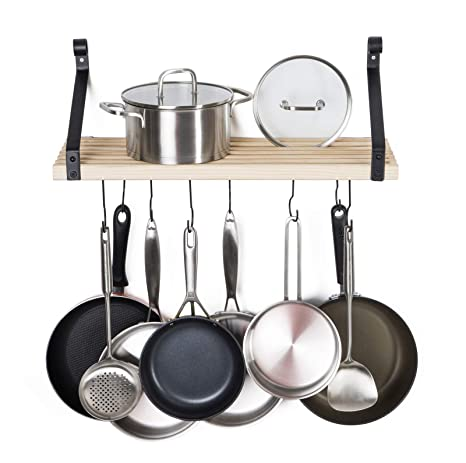 Soduku Pot Pan Rack With Solid Wood Shelf Wall Mounted Multifunctional Kitchen Hanging Organizer With 8 Hooks For Pots Pans Lids Utensils Cookware