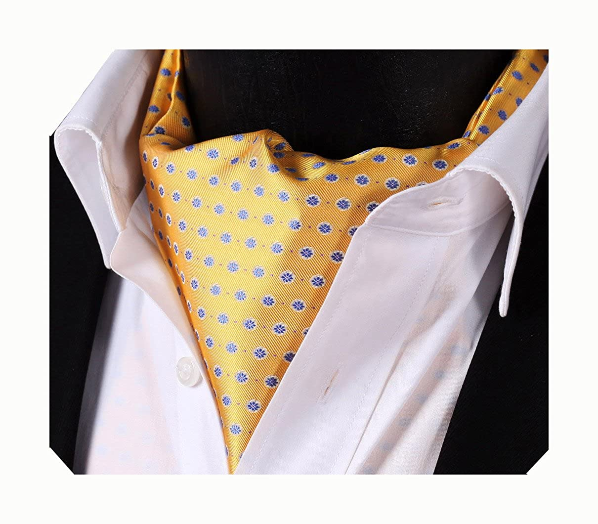 282c2c56b6a6 Amazon.com: Enmain Men's Ascot Dot Pattern Jacquard Woven Gift Cravat Tie  Yellow: Home & Kitchen