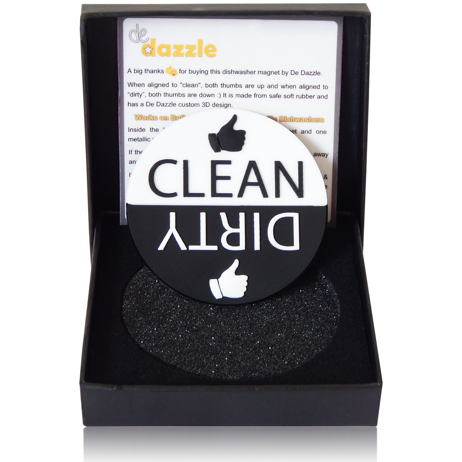 Big 3-D Dishwasher Magnet Shouts Out Clean or Dirty. No more mess ups. Sticks to any surface.