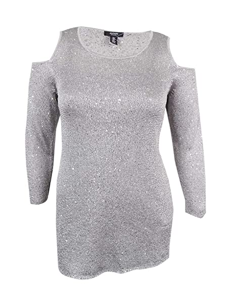 fe4fb1696c8bf Amazon.com  Alfani Women s Cold-Shoulder Sequined Sweater  Clothing