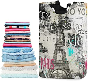 visesunny Vintage Style Paris Eiffel Tower Large Capacity Laundry Hamper Basket Water-Resistant Oxford Cloth Storage Baskets for Bedroom, Bathroom, Dorm, Kids Room