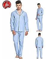 Everconform 100% Cotton Mens Pajamas 2 Piece Blue Long Sleeve Sleepwear Drawstring PJS Set