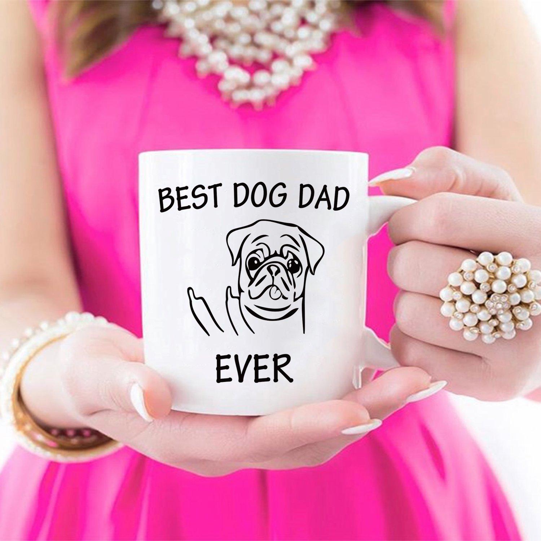 Regalos de Navidad divertido perro papá taza de café para los amantes de los perros - Mejor perro papá con dedo medio - el mejor regalo de Navidad para papá ...