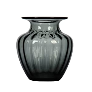 CASAMOTION Vase Hand Blown Art Glass Flower Vase,Ribble Tabletop Centerpiece Vases,Décor Gift Box,Smoke,18.3cm H