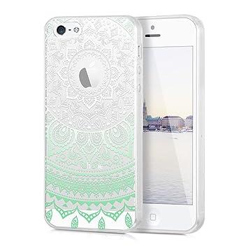kwmobile Funda para Apple iPhone SE / 5 / 5S - Carcasa de [TPU] para móvil y diseño de Sol hindú en [Menta/Blanco/Transparente]
