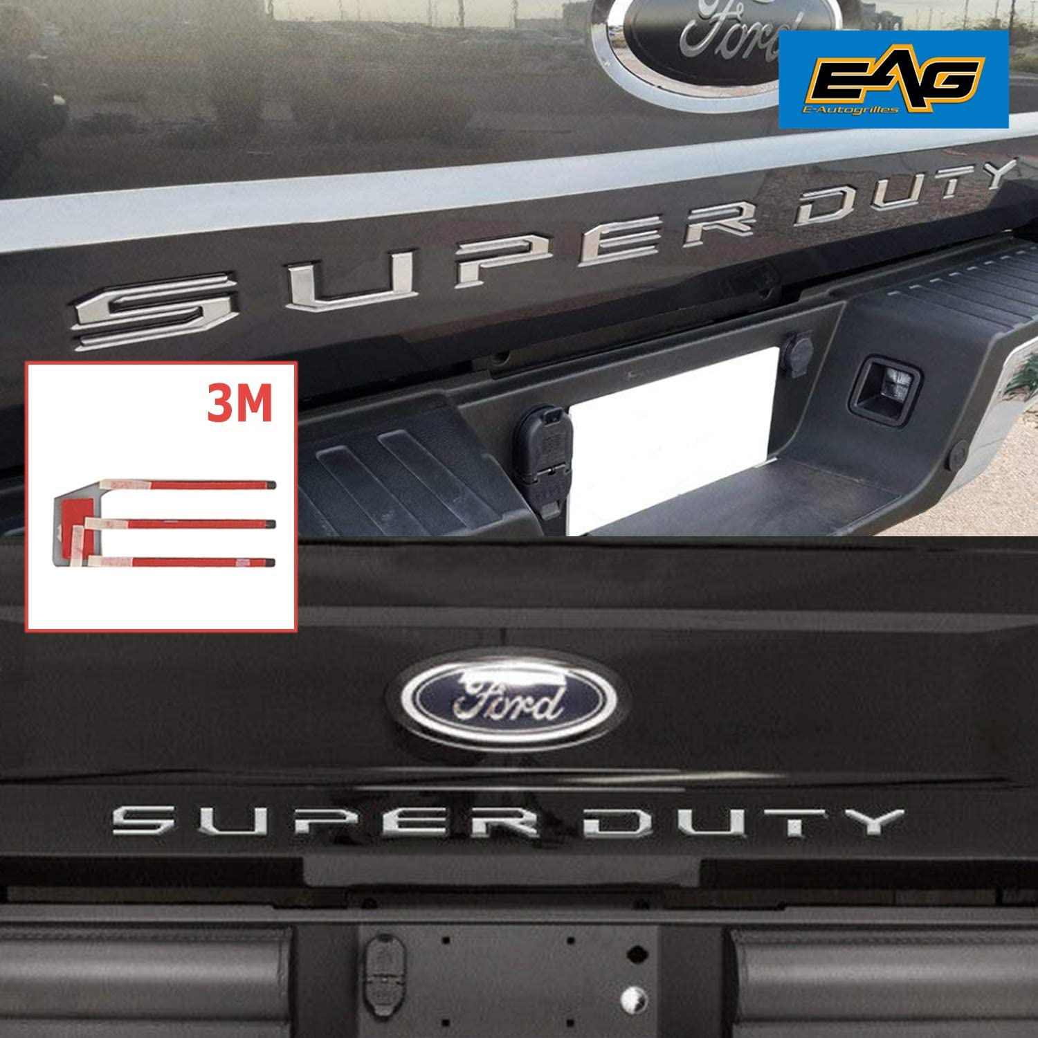 EAG Chrome Tailgate Insert Letters Fit for 2017-2019 Ford Super Duty F250 F350 F450