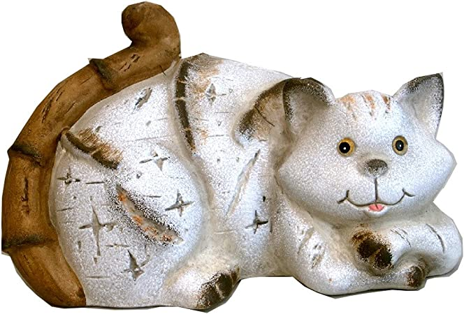 Gato gatos cerámica figura abstracta Escultura Decoración para jardín Figura decorativa de gatos: Amazon.es: Hogar