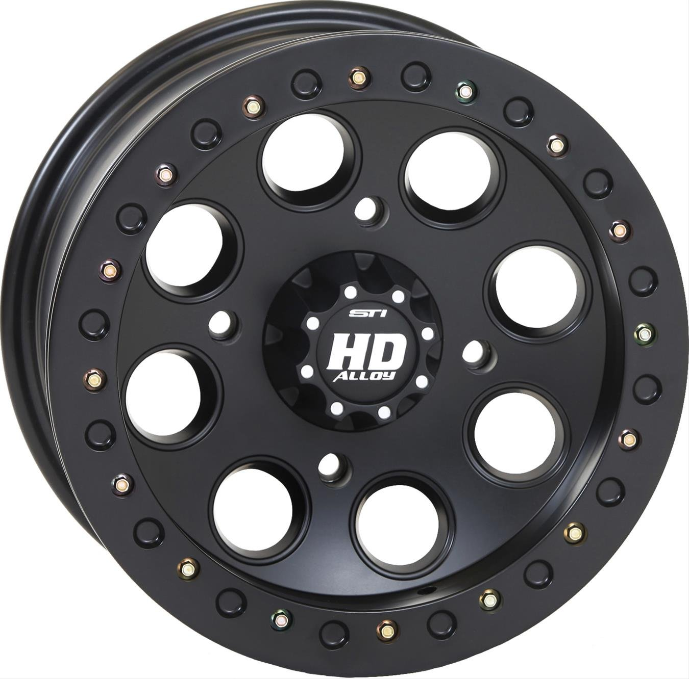 STI HD Beadlock Matte Black ATV Wheel 12x7 4/137 - (5+2) [12HB127]
